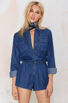 938d6ef944 Blank NYC Living Dead Girl Chambray Jean Romper