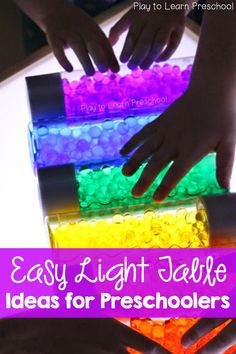 Light Table Activities and Ideas for the Preschool Classroom All of Play to Learn Preschool's light table activities and ideas in one convenient place for you! Science Area Preschool, Preschool Tables, Preschool Rooms, Preschool Activities, Preschool Classroom Themes, Preschool Plans, Preschool Projects, Classroom Organization, Diy Light Table