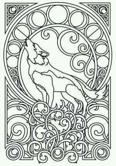 Wolf Nouveau Design Perfect For A Half Sleeve