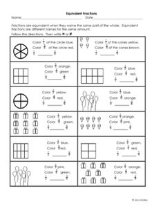 Equivalent Fractions Worksheet - lots of worksheets | School ...