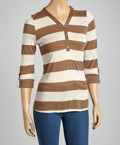 Take a look at this Mocha & Beige Stripe Henley Top by Zenana on #zulily today!