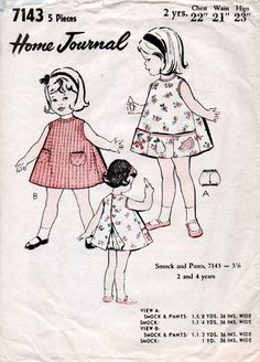 1960s Toddler's Smock Dress & Pants Pattern by BessieAndMaive