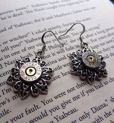 Silver flower Winchester 45 caliber bullet earrings by Myparttime