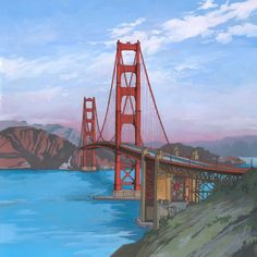 - Golden Gate Bridge - Illustration by Jonathan Chapman Ink Illustrations, Illustration Art, Golden Gate Bridge Painting, Building Drawing, San Francisco Art, Landscape Concept, Art Sketches, Travel Destinations, Canvas