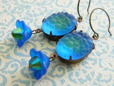 Blue Earrings Retro Earrings Blue Green Flowers by ChromeAndCotton, $20.00