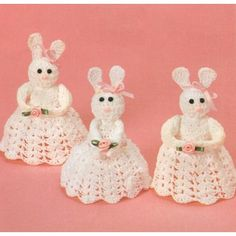 Crochet Rabbit Crocheted Bunnies Pattern - Crochet these adorable little bunnies with our - Easter Crochet Patterns, Crochet Bunny Pattern, Crochet Rabbit, Pdf Sewing Patterns, Crochet Thread Size 10, Crochet Hooks, Bunny Blanket, Cute Easter Bunny, Vintage Easter