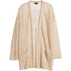 H&M Mohair blend cardigan ($18) ❤ liked on Polyvore featuring tops, cardigans, jackets, outerwear, light beige, loose fit tops, pink cardigan, loose tops, h&m tops and beige cardigan