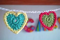 crochet heart banner.  How fun would this be to make with leftover yarn!