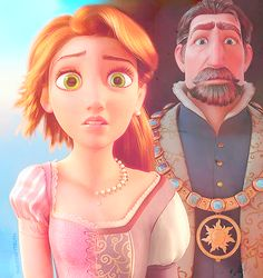 *RAPUNZEL & (her father) THE KING of CORONA ~ Tangled, 2010....Oh my gosh...wow. She looks just like her mother...!