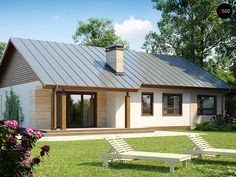 Dom w budowie Rural House, Bungalow House Plans, Future House, My House, Modern Brick House, Affordable House Plans, Bungalows, Courtyard House, Small House Design