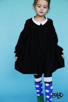 BOdeBO kids fashion WINTER 2010/11 OLIVE DRESS  Oversize dress, longsleeves,  wrinkled empiecement, giant hem