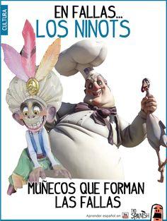 Los Ninots son los muñecos que forman las fallas, suelen ser divertidos y hacer burla a personajes o a la sociedad ---- Fallas, fiestas de Valencia, Fiestas de España. Aprender cultura española