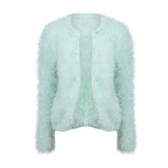 Twin Buttoned Hairy Green Coat ($68) ❤ liked on Polyvore