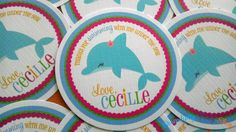 BRIGHT Dolphin Collection Favor Tag- Pick Your Friend. $5.00, via Etsy.