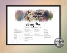 Marry Me, Custom Sound Wave and Lyrics art, Printable digital soundwave poster, Personalized gift, Instant download high-resolution files Sound Wave Picture, Making Memories Of Us, Printable Art, Printables, Defying Gravity, Rainbow Connection, Beautiful Songs, Sound Waves, Marry You