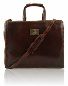 PALERMO TL10060 Women's Leather briefcase 3 compartments - Cartella in pelle da donna 3 scomparti