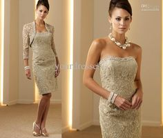 Whole 2017 Le Champagne Sheath Short Beads Lace Mother Of The Bride Dresses With Jacket Satin
