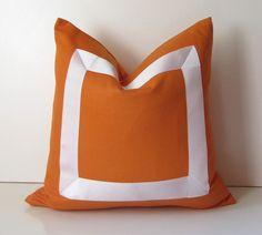 "Decorative Pillow 18 - 20 - 22"" Natural Orange cotton fabric with white ribbon embellishment - made to order. $48.00, via Etsy."