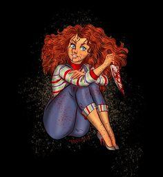 Disney Princess Halloween Series Merida as Chucky from Child's Play 🔪 Creepy Disney Princess, Princesses Disney Punk, Evil Princess, Disney Characters, Dark Princess, Princess Art, Fantasy Characters, Disney Movies, Michael Myers