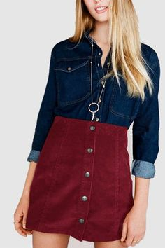 Burgundy Button Through A Line Skirt in Corduroy - US$15.95 -YOINS