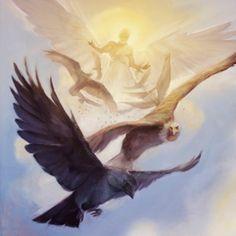 Um anjo em pé no sol, e aves voando no céu