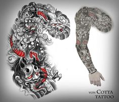 Here is a design for a project I started today. Got the Lines Down in a long lining session. Dragon, Foo Dog and Hanya mask. Samurai Tattoo Sleeve, Dragon Sleeve Tattoos, Best Sleeve Tattoos, Irezumi Sleeve, Japanese Dragon Tattoos, Japanese Sleeve Tattoos, Samourai Tattoo, Hanya Tattoo, Full Sleeve Tattoo Design