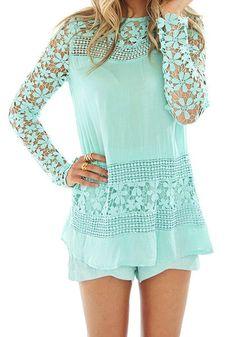 Floral Crochet Mint Top- Features Crochet Floral Lace