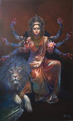 Lord Shiva is Sitting and Durga is Creating Kali from Her Third Eye (via Dolls of India) Shiva Hindu, Shiva Art, Hindu Deities, Hindu Art, Saraswati Goddess, Indian Goddess, Goddess Lakshmi, Durga Painting, Lord Shiva Painting