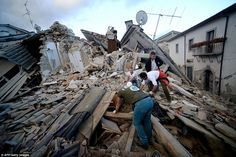 Residents search for victims in the rubble after a strong earthquake hit Amatrice, Italy, on August 24. Central Italy was struck by a powerful 6.2-magnitude earthquake  which killed at least three people and devastated dozens of mountain villages