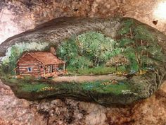 Farm/Log Cabin on a rock.