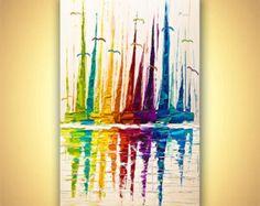 Coloridos veleros pintura Original contemporáneo moderno abstracto paisaje pintura MADE-TO-ORDER espátula por Osnat 60