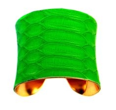 Neon Green Matte Snakeskin Gold Lined Cuff Bracelet  by UNEARTHED