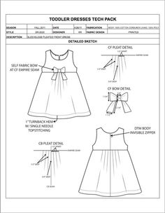 Instead of developing garment spec sheets from scratch and manually calculating apparel size grading, use our Fashion Tech Pack Templates and Sample Specs for Women, Men, Plus Size, and Childrenswear to easily prepare your apparel designs for production! Fashion Design Template, Fashion Templates, Fashion Design Sketches, Dresses Kids Girl, Kids Outfits, Fashion Vector, Fashion Drawing Dresses, Dress Illustration, Tech Pack