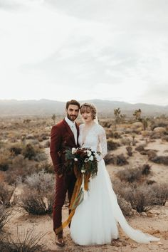 This Joshua Tree Wedding at Pipes Canyon Lodge was Rich with Desert Romance Maroon Wedding, Wedding Groom, Wedding Attire, Wedding Bells, Boho Wedding, Wedding Locations California, California Wedding, Joshua Tree Wedding, Groom Looks