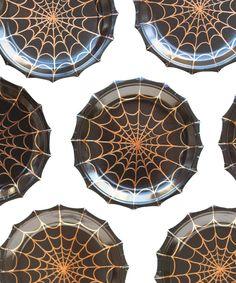 Spider Web Halloween Plates