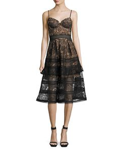 LOVE it! My only complaint is the lack of sizes. Paisley+Lace+Sleeveless+Bustier+Midi+Dress,+Black+by+Self+Portrait+at+Neiman+Marcus.