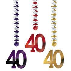 Decorados colgantes para una fiesta 40 cumpleaños, de www.fiestafacil.com - $3.85 / Hanging decorations for a 40th birthday party, from www.fiestafacil.com