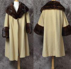1960s Lilli Ann coat light beige Mink fur Collar by LaMeowVintage, $299.00
