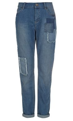 Looking for a subtle pair of patchwork jeans. Not too skinny but ones I can wear in boots for the fall.