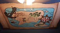 5'x9' Treasure Map Mural for Pirate themed room.