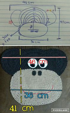Medidas tapete monkey #CoisasDeJaay www.facebook.com/feeitoamao