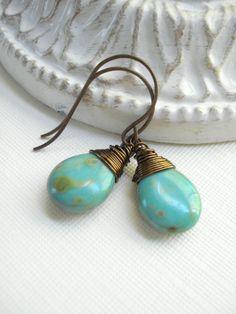 Turquoise Teardrop Earrings In Antique Brass by AnechkasJewelry, $19.00