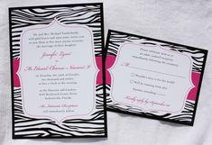 Black & White Zebra Print Wedding Invitations with Pink Accents - emDOTzee Designs Black Wedding Invitations, Pink Invitations, Wedding Invitation Wording, Invites, Zebra Wedding, Black White Pink, White Zebra, Wedding Images, Wedding Pictures