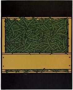 #225, String Beans, linocut by Jacques Hnizdovsky, 1976