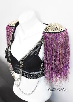 Mix Purple TasselSilver Stud EpaulettesGold stud&chain | Etsy Festival Costumes, Festival Outfits, Festival Fashion, Festival Clothing, Feather Necklaces, Silver Chain Necklace, Silver Necklaces, Shoulder Jewelry, Burning Man Outfits