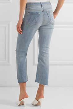 Mother - The Insider Crop Distressed High-rise Flared Jeans - Blue - 31