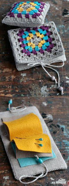 Inspiration :: Pincushion & needle book, made by namolio on Etsy . . . . ღTrish W ~ http://www.pinterest.com/trishw/ . . . . #crochet #sewing