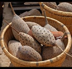 Decorated baobab seed pods in a basket.  Photo taken in Mali by Ursula G.