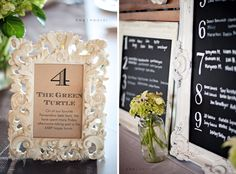 Table Numbers using  vintage frames spraypainted! Chalk boards Awesome for  menue and seating arrangement