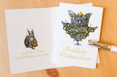 Weihnachtskarten - Weihnachtskarten (3 Stück): Misslaunige Eule - ein Designerstück von pixelgraphix bei DaWanda